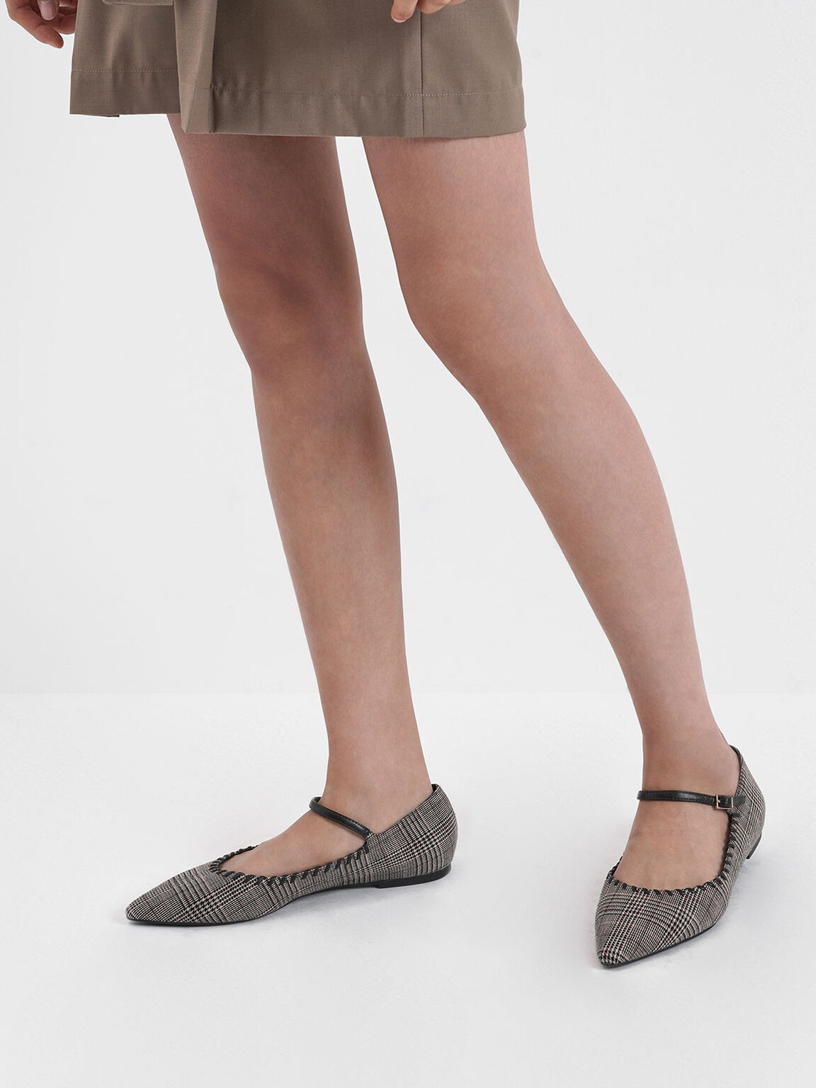 Houndstooth Print Whipstitch Trim Mary Jane Flats, Multi, hi-res
