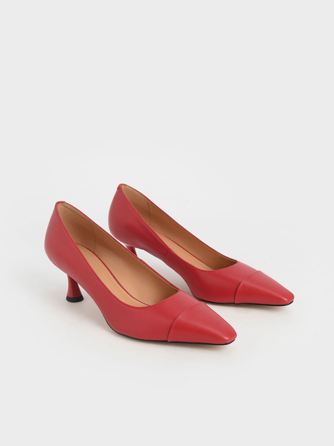 Spool Heel Toe Cap Pumps, Red, hi-res