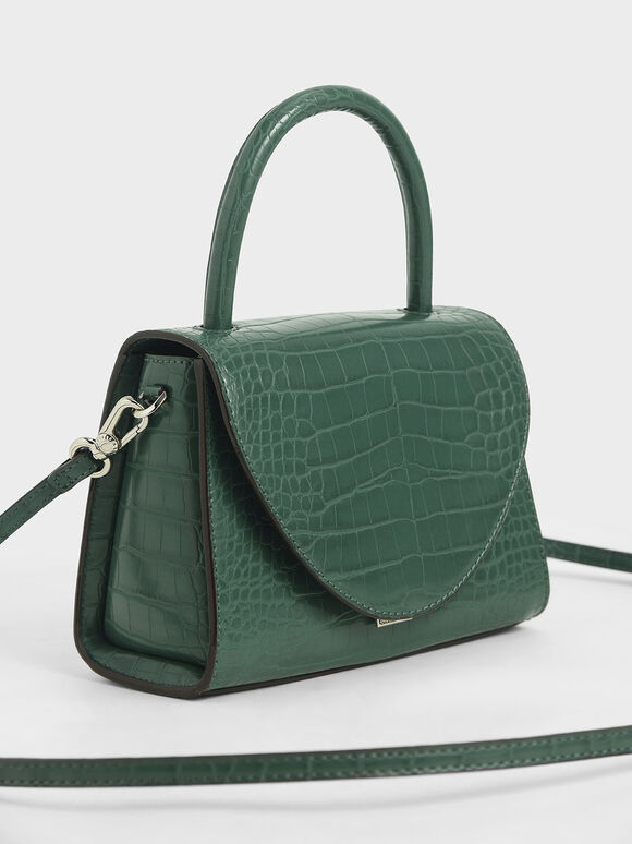 Croc-Effect Structured Top Handle Bag, Green, hi-res