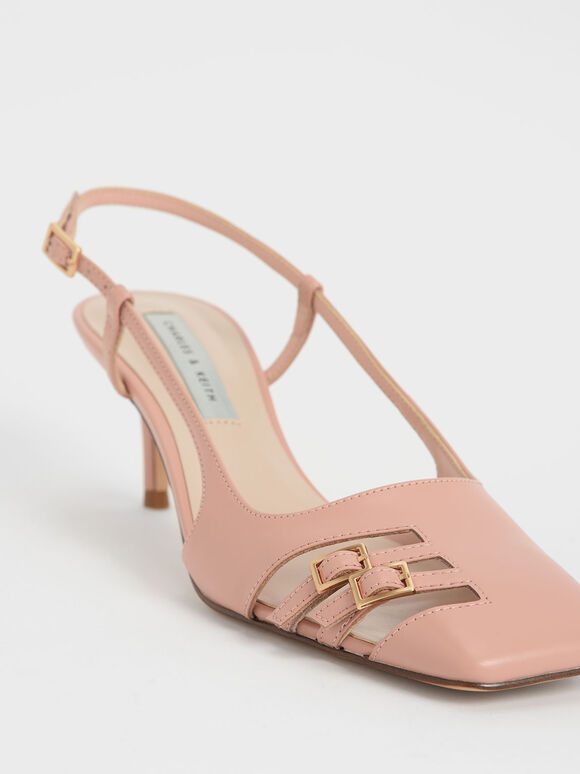 Cut-Out Buckled Slingback Pumps, Nude, hi-res
