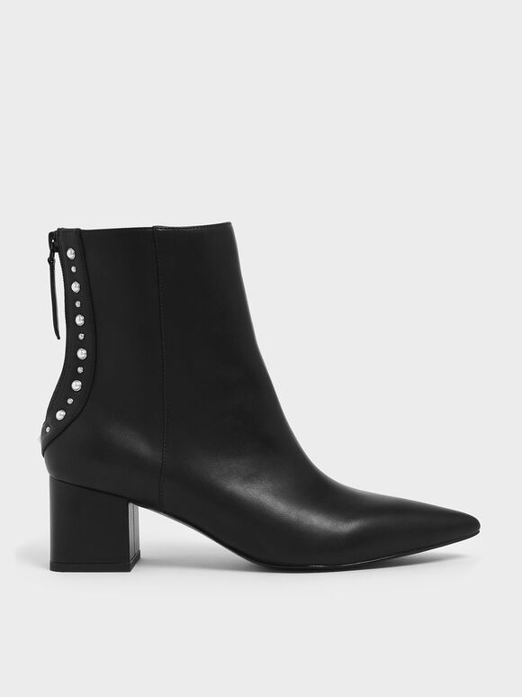 Embellished Trim Block Heel Ankle Boots, Black, hi-res