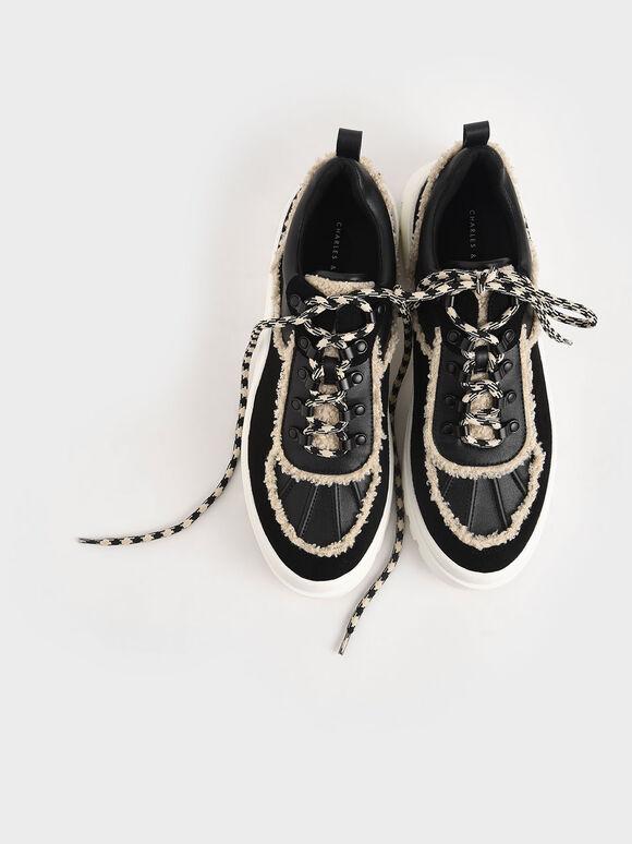Microsuede Printed Lace Trainers, Black, hi-res