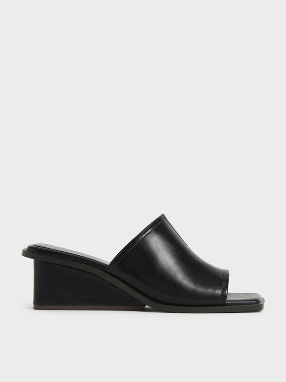 Square Toe Wedge Mules, Black, hi-res
