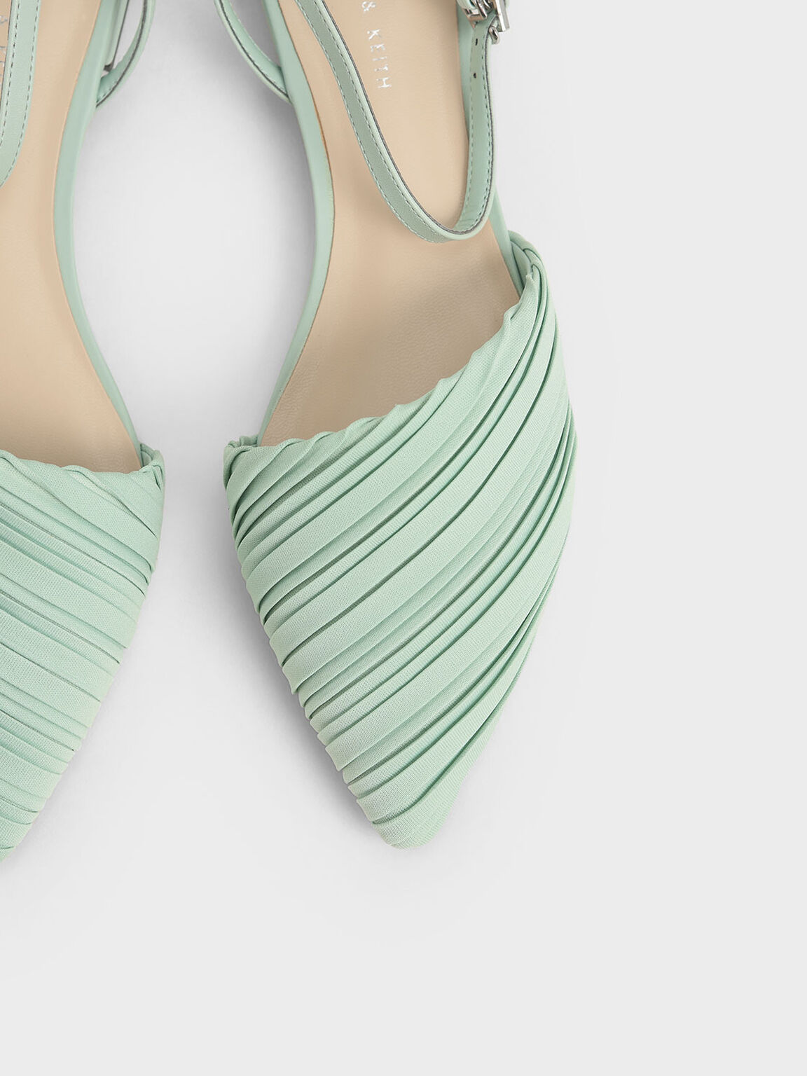 Pleated Ankle Strap Flat Court Shoes, Mint Green, hi-res