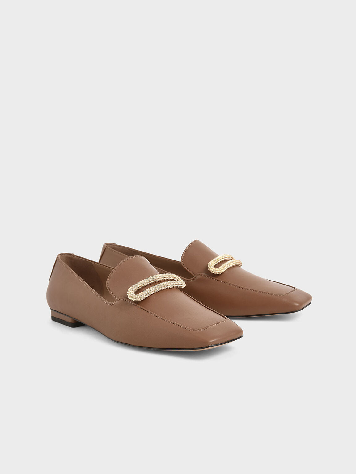 Leather Metallic Accent Loafers, Brown, hi-res