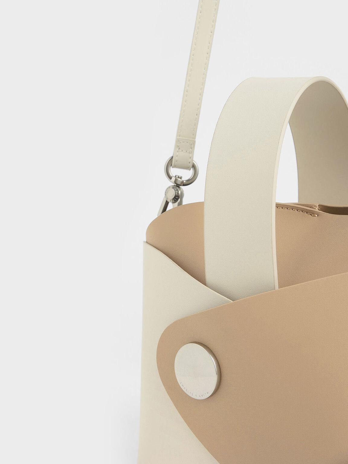 Two-Tone Mini Bucket Bag, Cream, hi-res