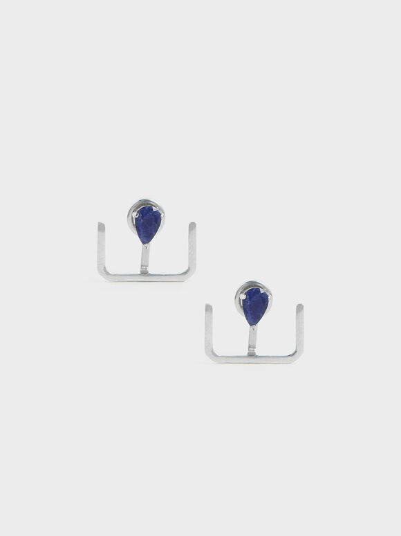 Sodalite Stone Ear Climber Earrings, Silver, hi-res