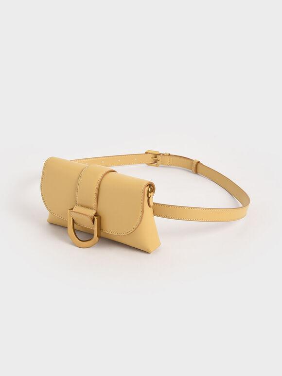Metallic Buckle Crossbody Bag, Yellow, hi-res