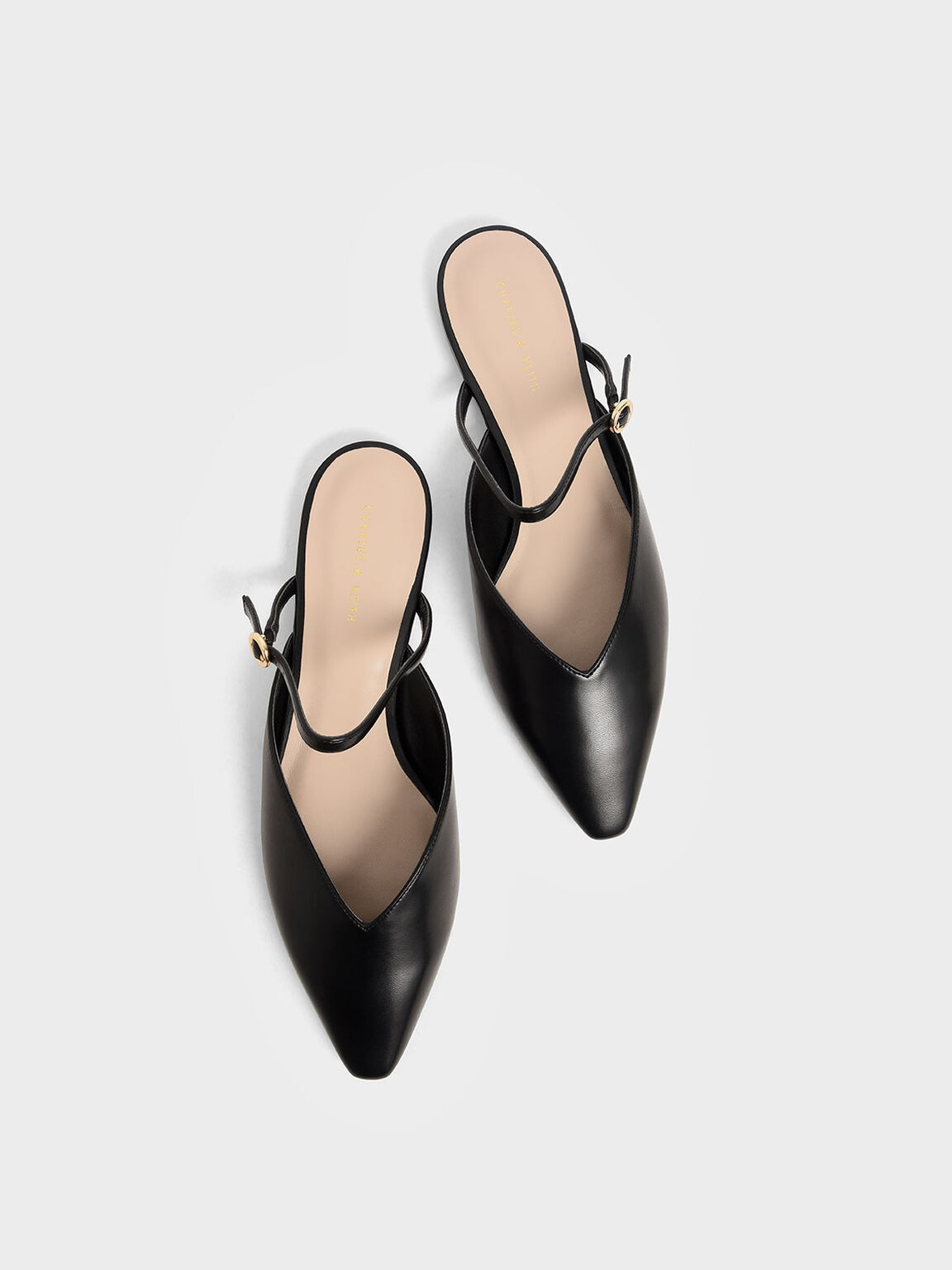 V-Cut Mary Jane Mules, Black, hi-res