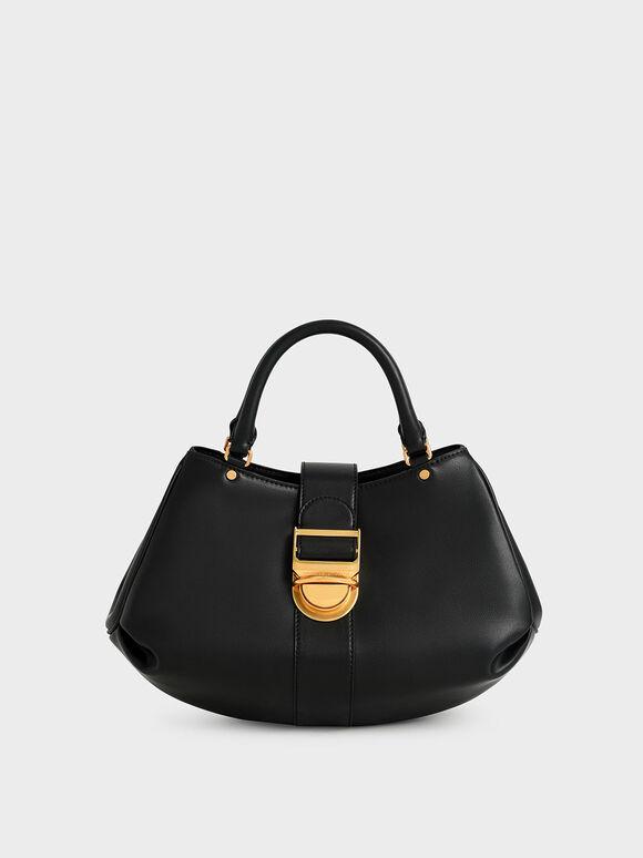Buckled Tote Bag, Black, hi-res
