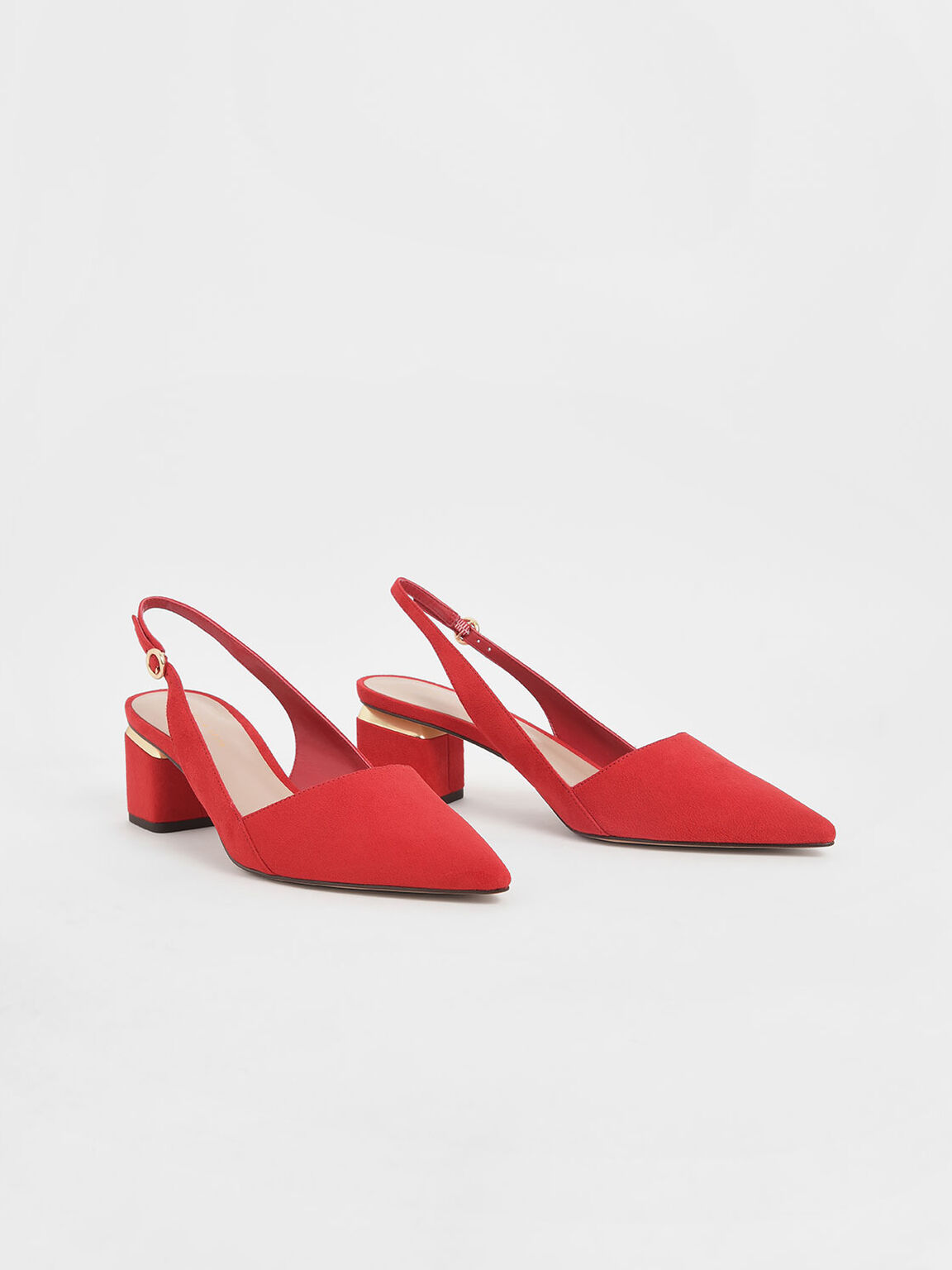 Pointed Textured Slingback Heels, Red, hi-res