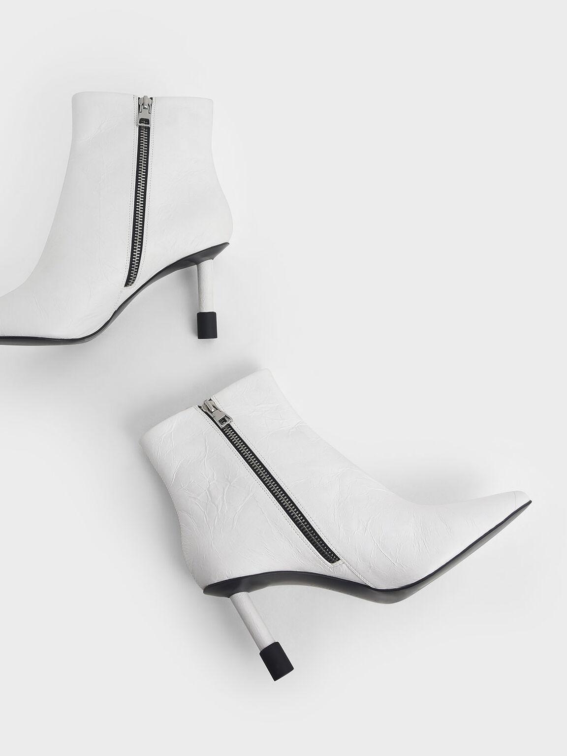Stiletto Heel Ankle Boots, White, hi-res