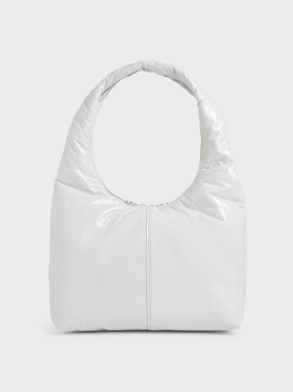 Wrinkled-Effect Large Hobo Bag, White, hi-res