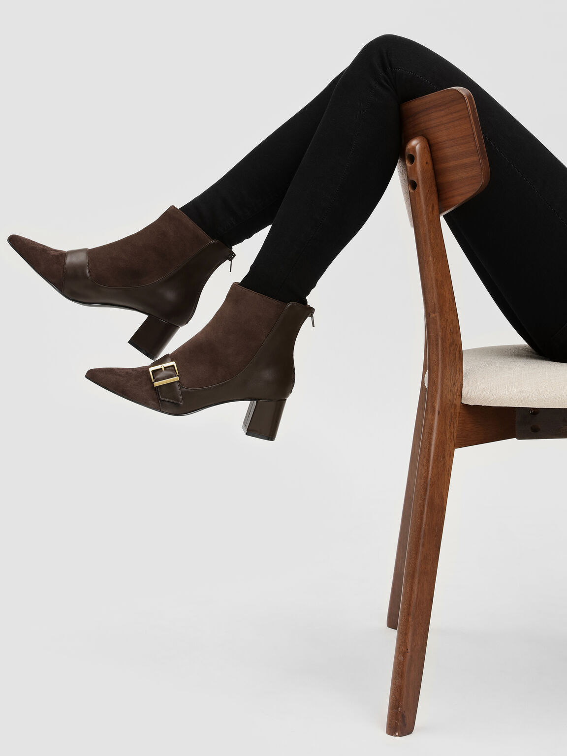 Buckle Detail Ankle Boots, Dark Brown, hi-res