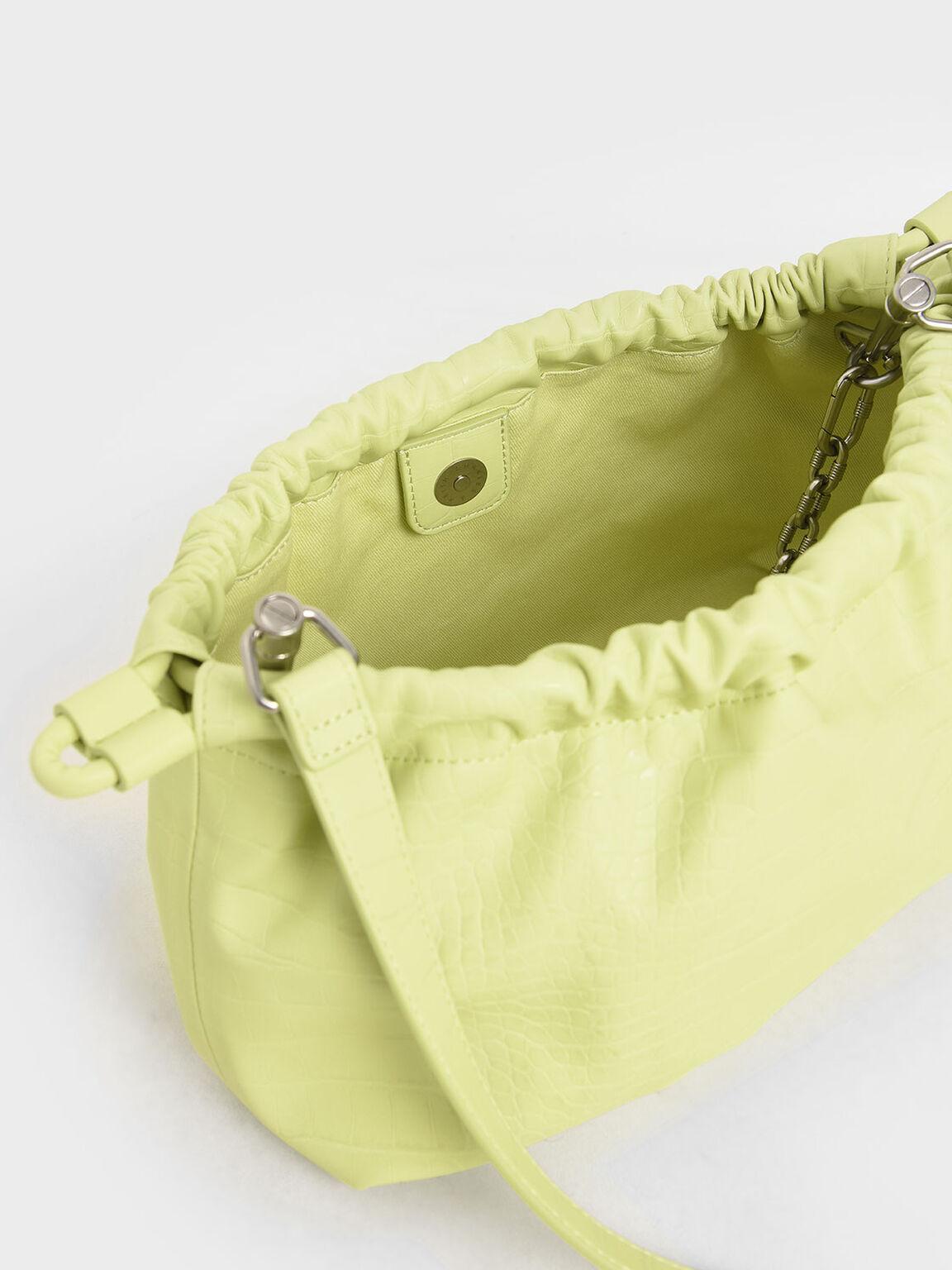 Croc-Effect Chain Handle Drawstring Clutch, Lime, hi-res