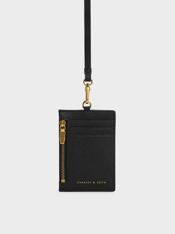 Side Zip Card Holder, Black, hi-res