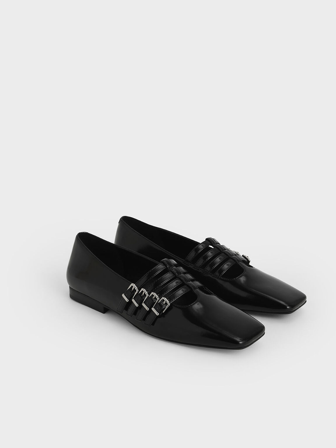 Buckled Mary Jane Flats, Black, hi-res