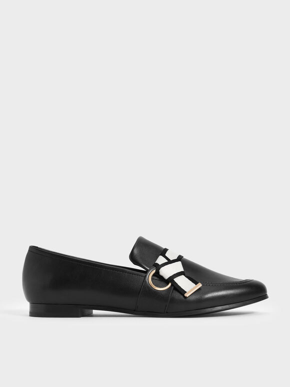 Fabric Knot Penny Loafers, Black, hi-res