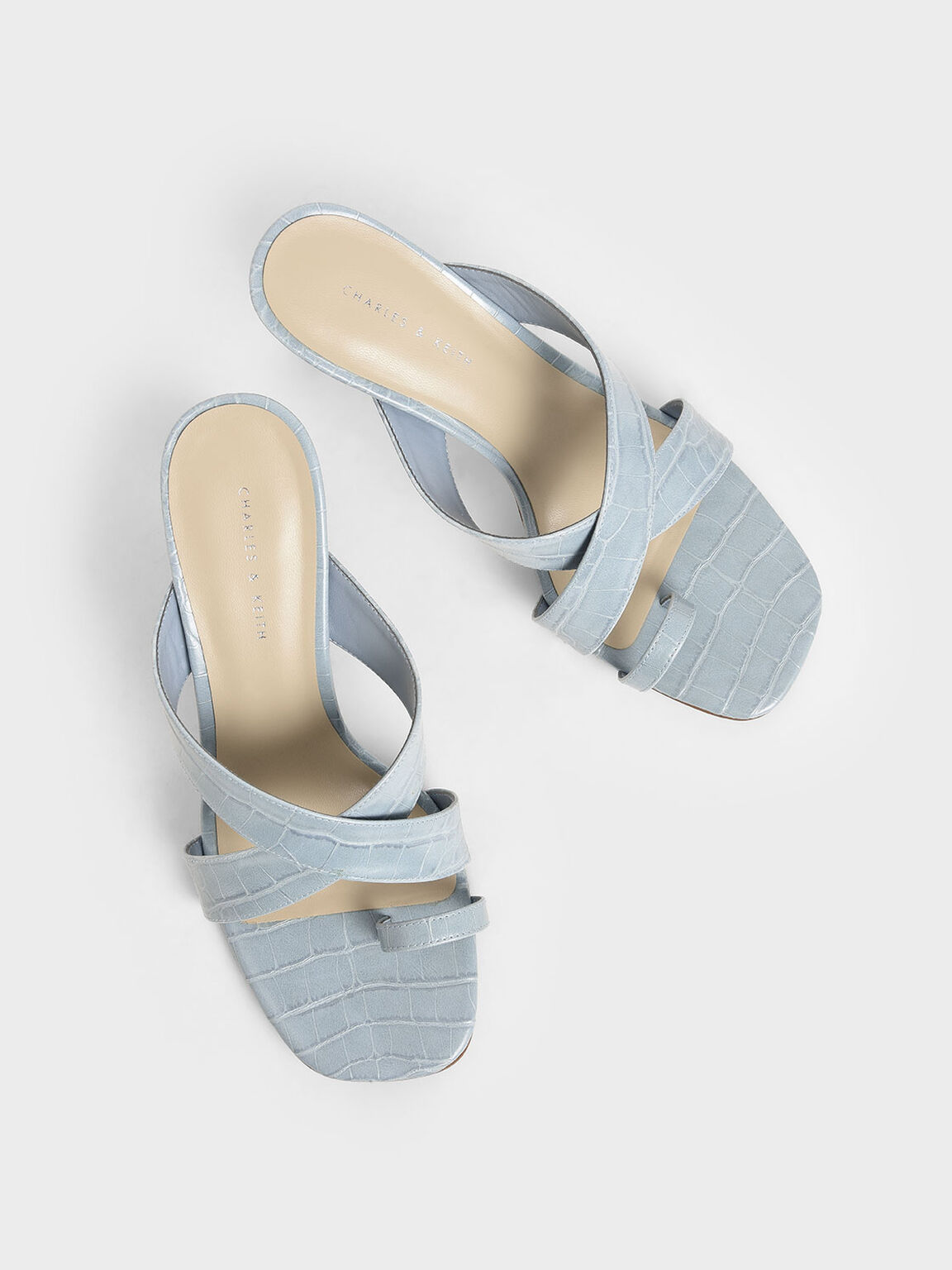 Croc-Effect Heeled Mules, Blue, hi-res