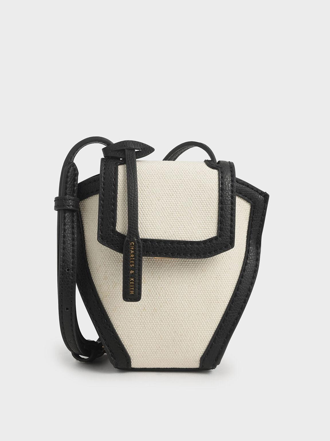 Geometric Canvas Crossbody Bag, Black Textured, hi-res
