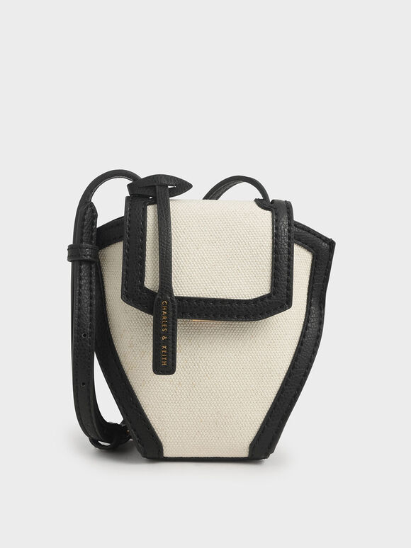 Geometric Canvas Crossbody Bag, Black Textured, hi-res
