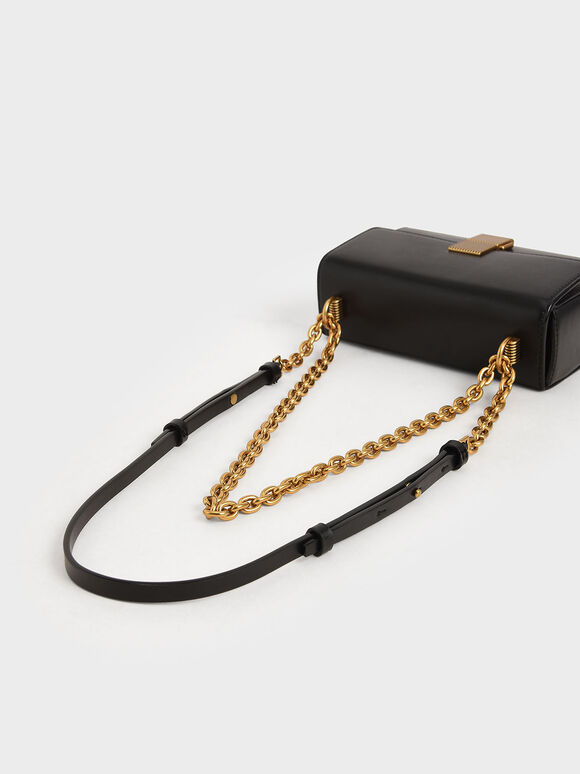 Metallic Push-Lock Clutch, Black, hi-res