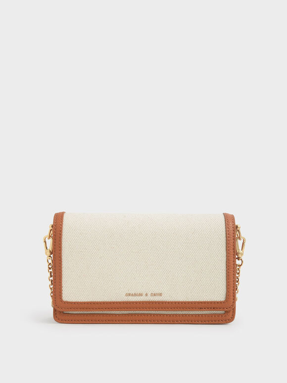 Two-Tone Canvas Clutch, Cream, hi-res