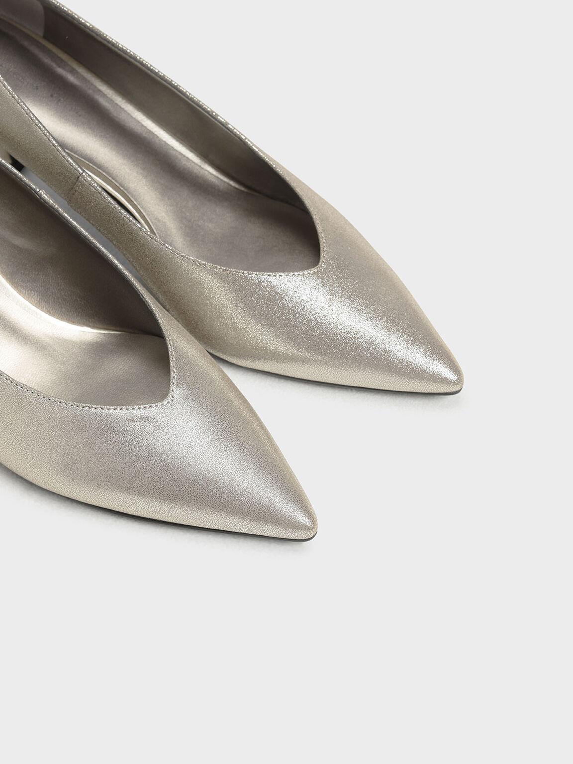 Pointed Toe Kitten Heel Metallic Pumps, Silver, hi-res