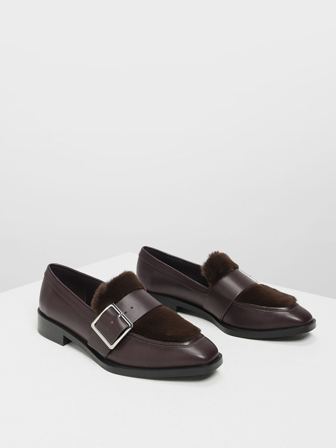Buckled Furry Detail Loafers, Purple, hi-res