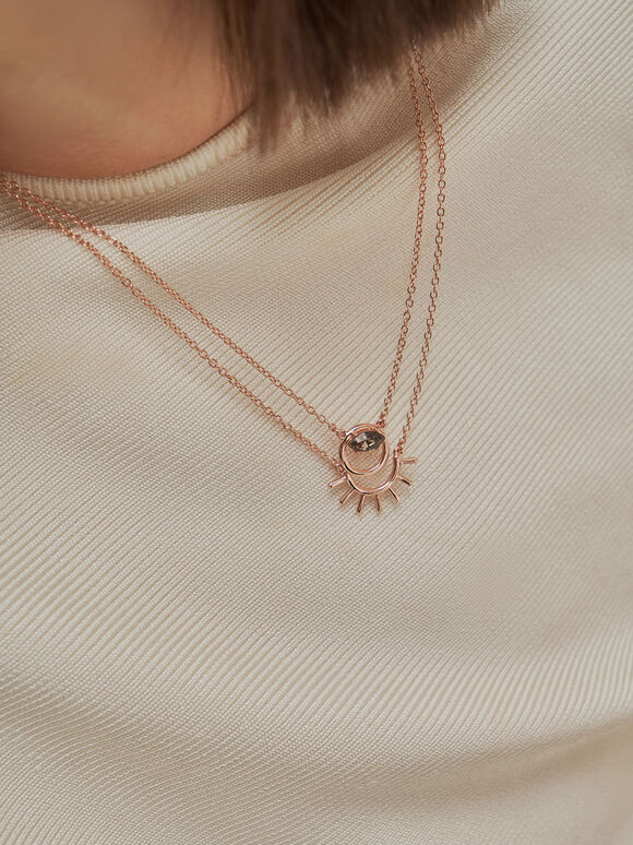 Swarovski® Crystal Pendant Princess Necklace, Rose Gold, hi-res