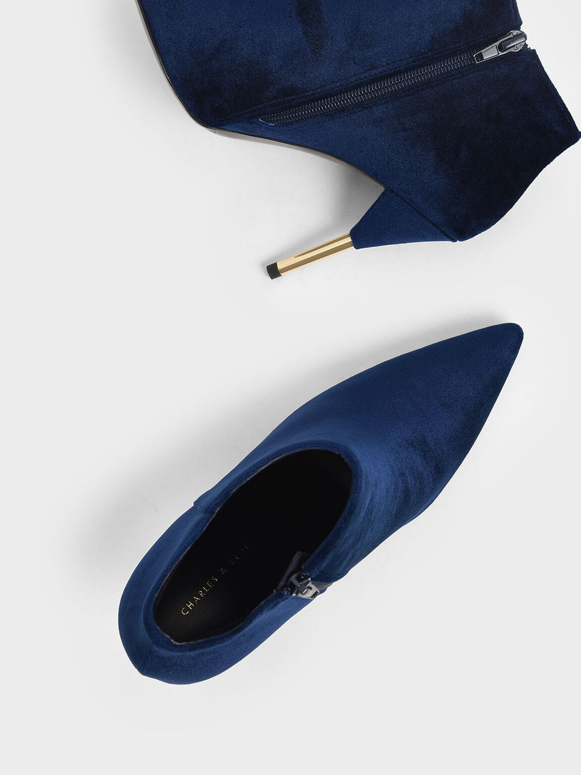 Velvet Metallic Stiletto Heel Ankle Boots, Dark Blue, hi-res