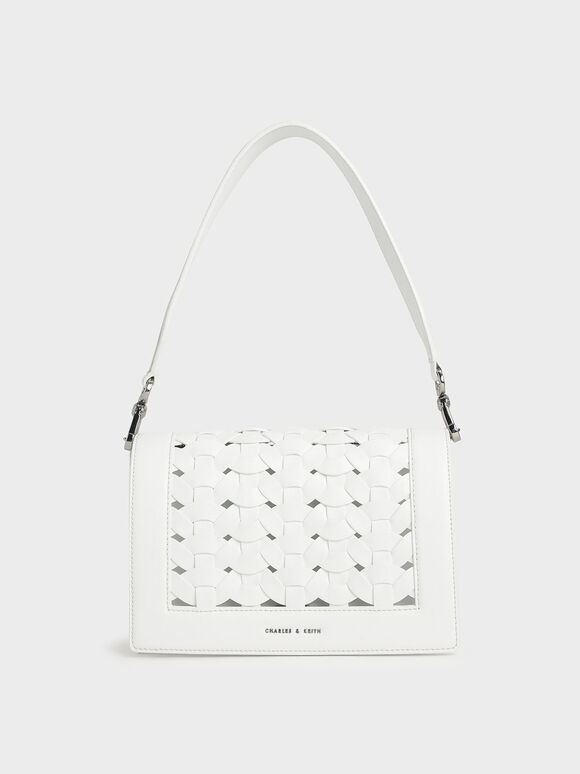 Woven Shoulder Bag, White, hi-res