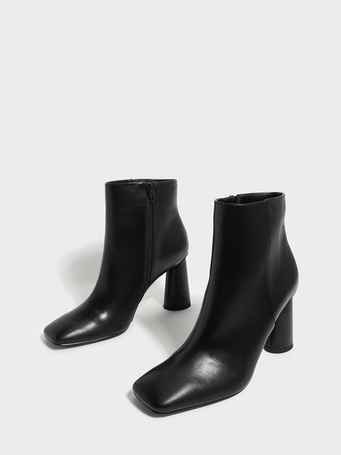 Square Toe Calf Boots, Black, hi-res