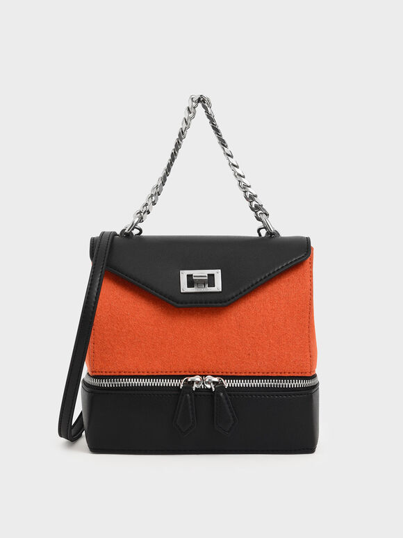 Two-Way Zip Chain Handle Bag, Orange, hi-res