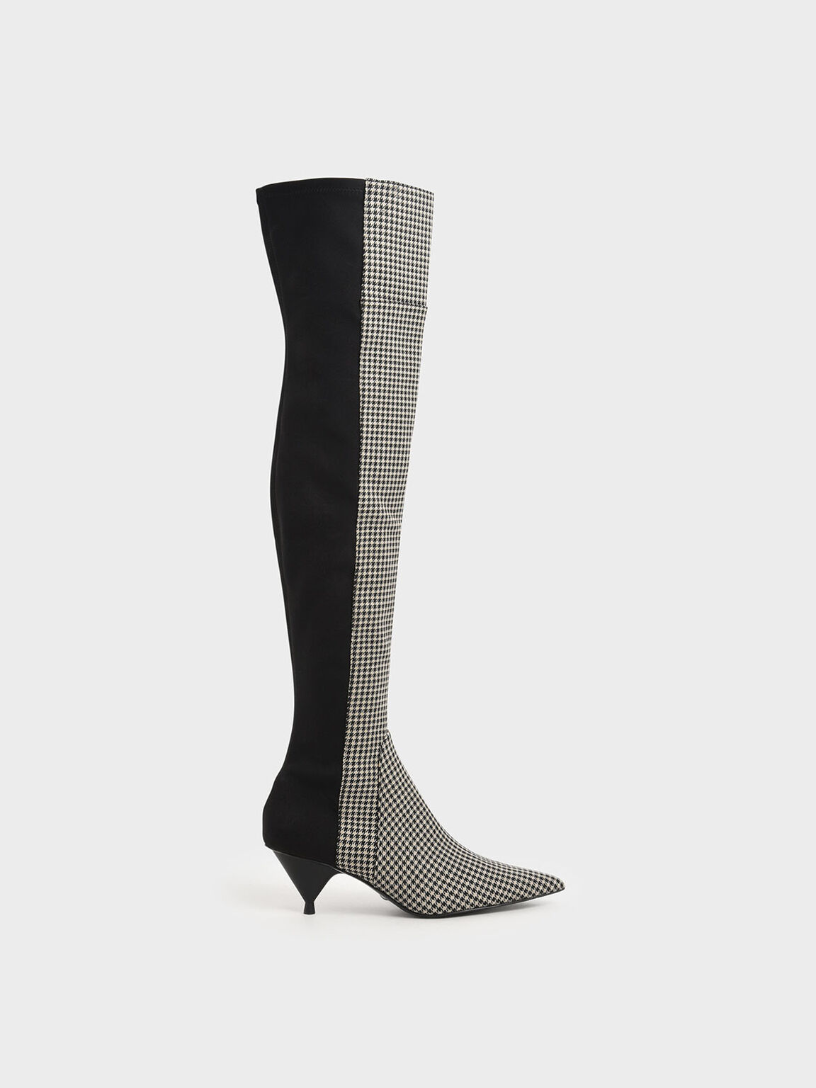 Houndstooth Print Thigh High Boots, Multi, hi-res