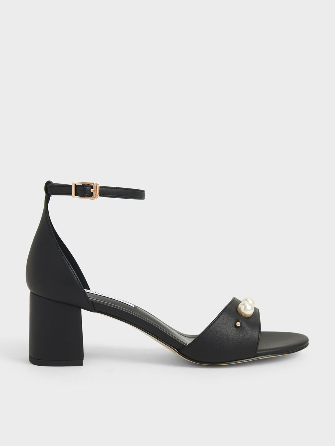 Embellished Block Heel Sandals, Black, hi-res