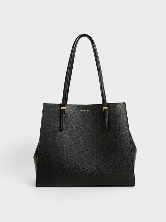 Large Double Handle Tote Bag, Black, hi-res