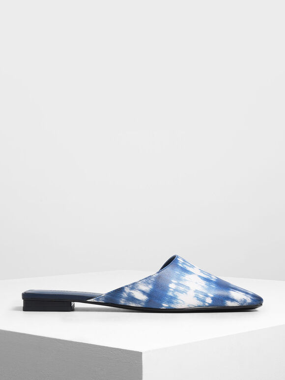 Printed Square Toe Asymmetrical Mules, Dark Blue, hi-res