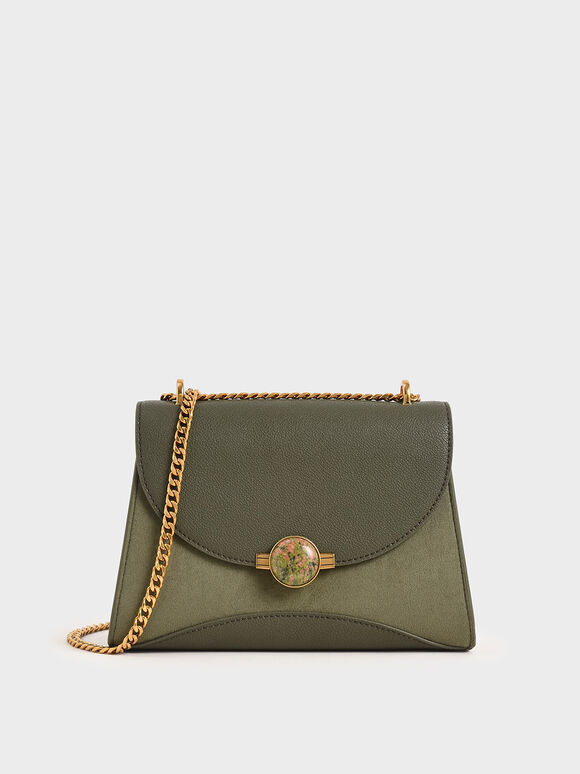 Textured Embellished Push-Lock Bag, Sage Green, hi-res