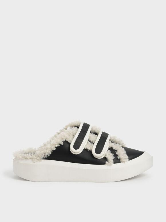 Two-Tone Furry Velcro Sneaker Mules, Black, hi-res