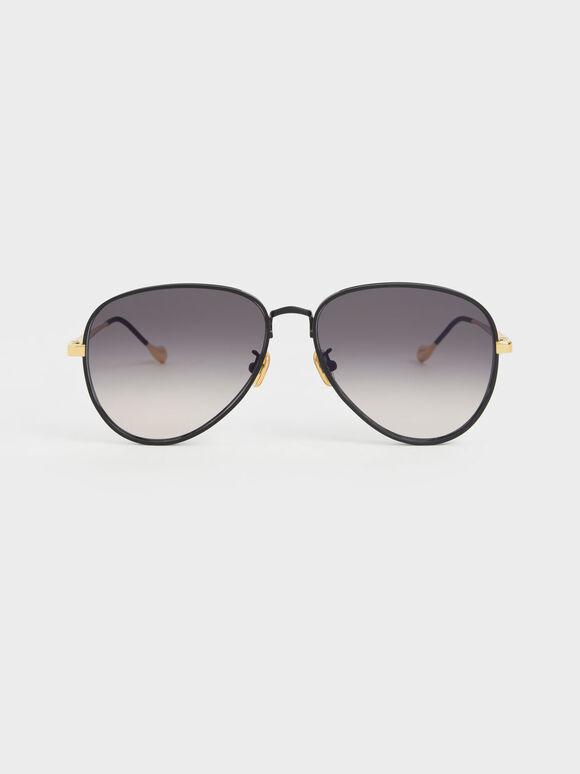 Tinted Aviator Sunglasses, Black, hi-res