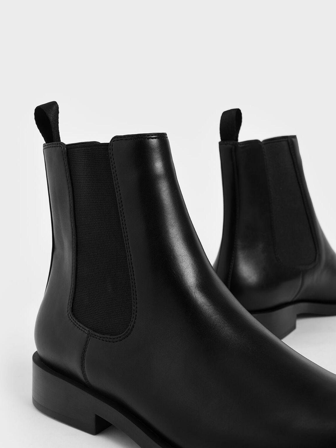Round Toe Chelsea Boots, Black, hi-res