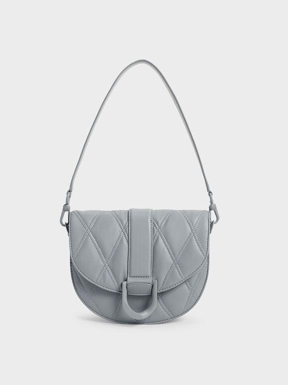 Gabine Quilted Saddle Bag, Steel Blue, hi-res