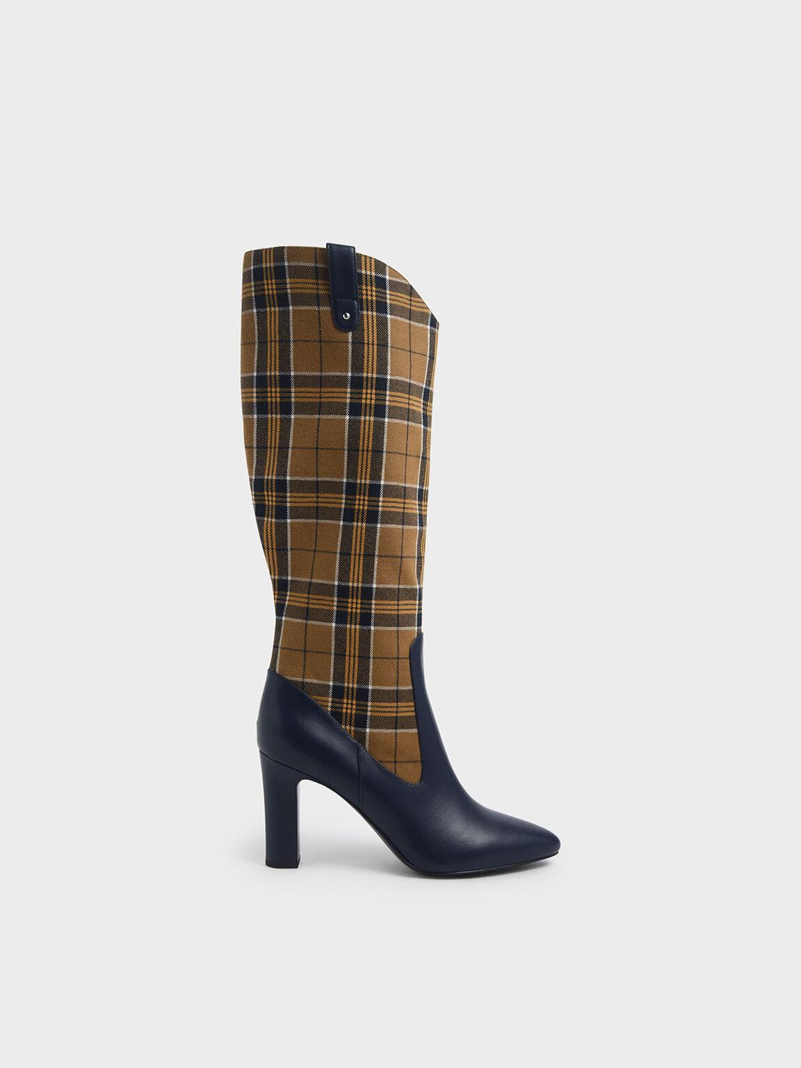 Check Print Chunky Heel Knee High Boots, Mustard, hi-res