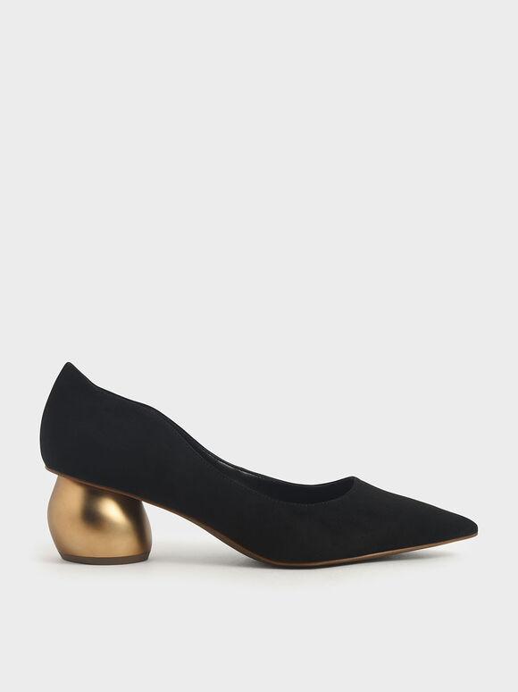 Textured Sculptural Heel Court Shoes, Black, hi-res