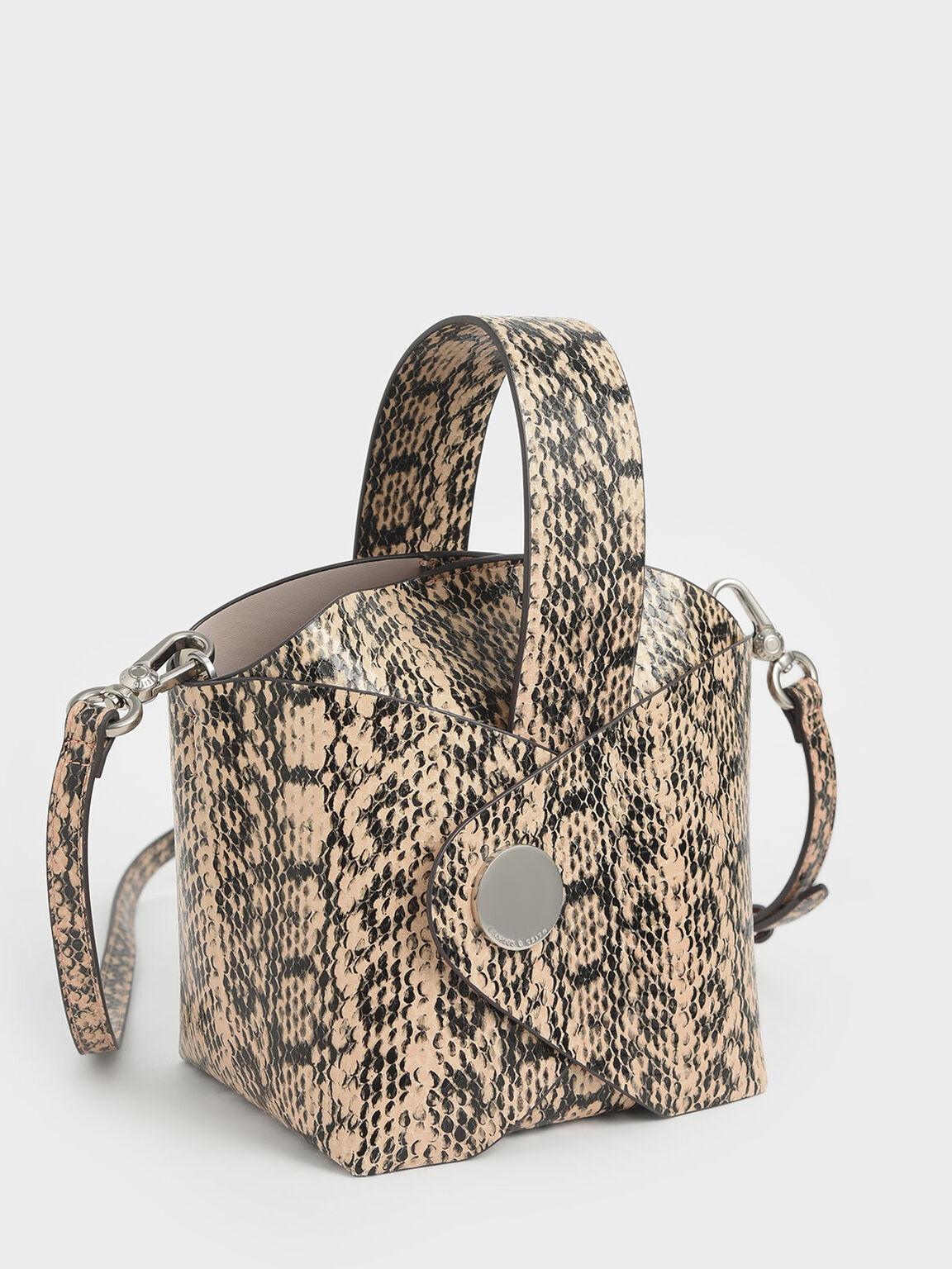 Snake Print Mini Bucket Bag, Beige, hi-res