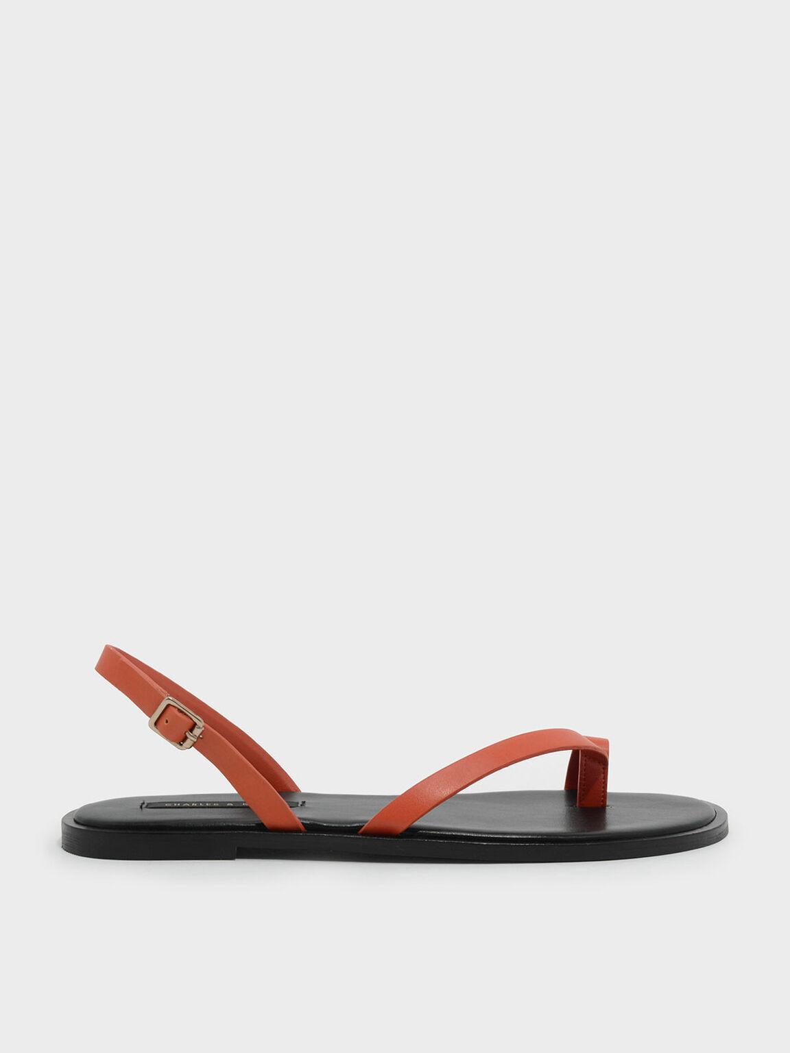 Slingback Thong Sandals, Orange, hi-res