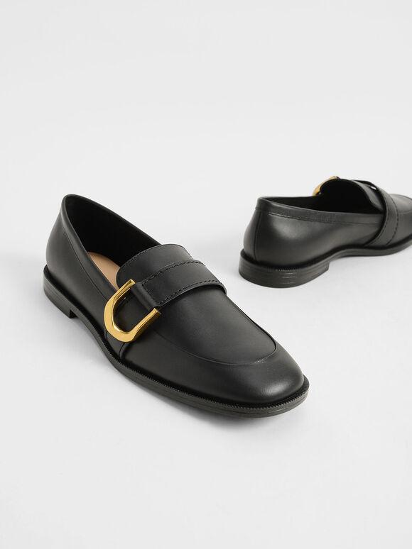Gabine Buckled Leather Loafers, Black, hi-res