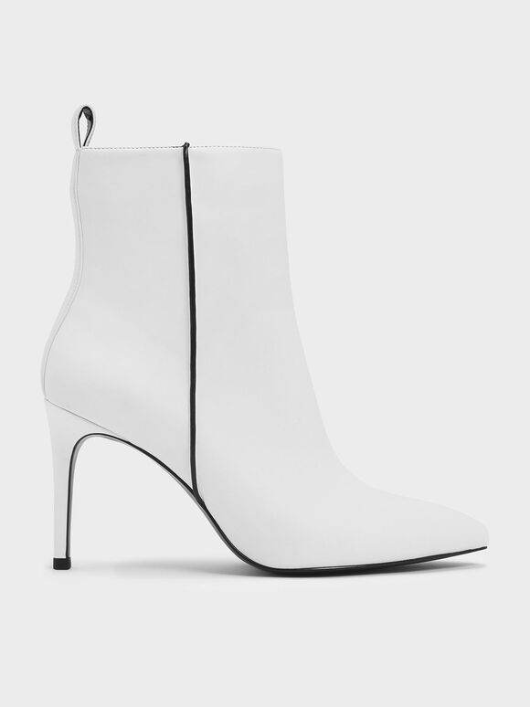 Two-Tone Pointed Toe Stiletto Heel Calf Boots, White, hi-res