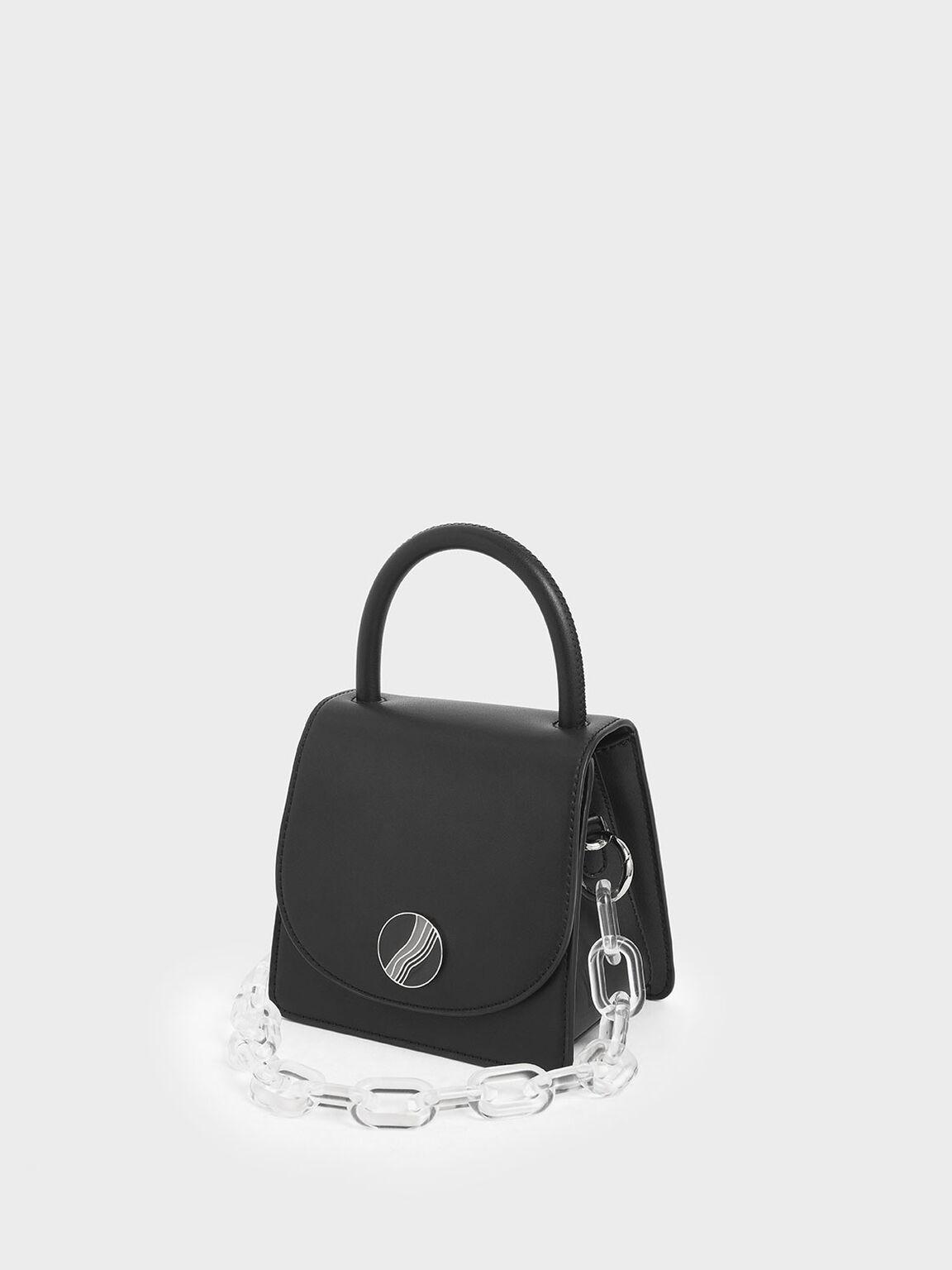 Chunky Chain Handle Mini Bag, Black, hi-res
